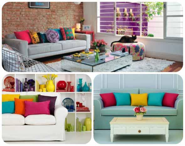 Almofadas coloridas na decoração 001
