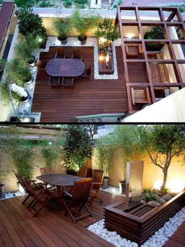Decks de madeira na varanda 016