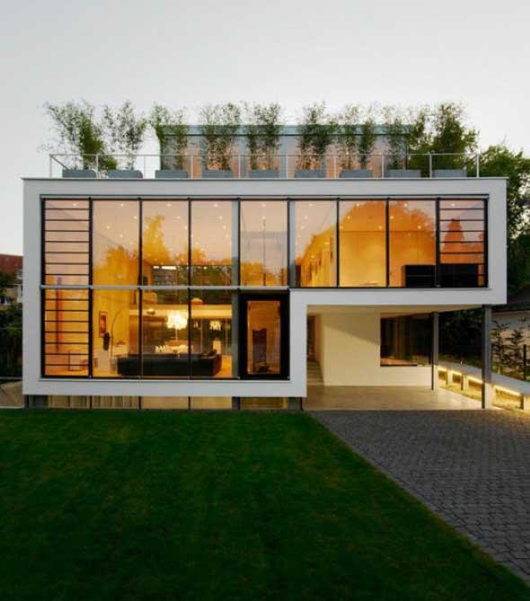 Fachadas de casa com vidros 014