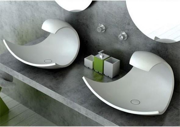 Pias de banheiro com estilo futurista 002