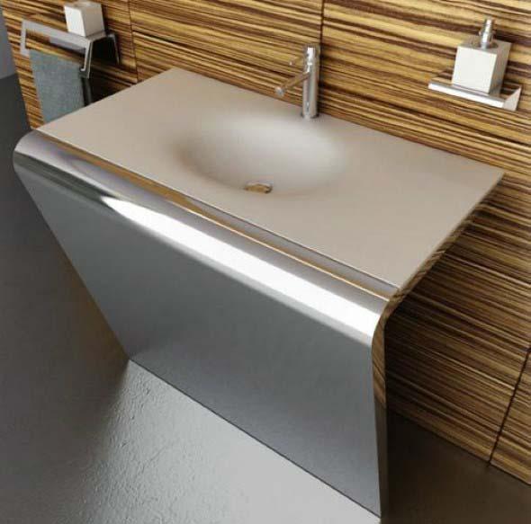 Pias de banheiro com estilo futurista 003
