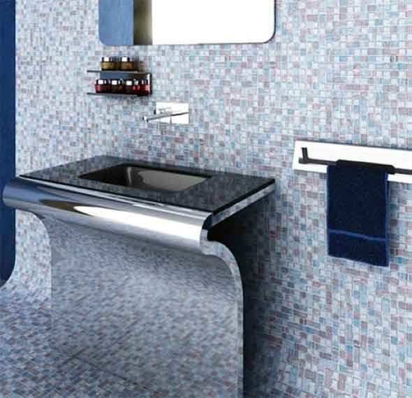 Pias de banheiro com estilo futurista 006