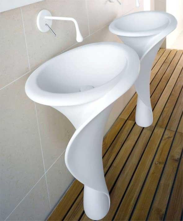 Pias de banheiro com estilo futurista 008