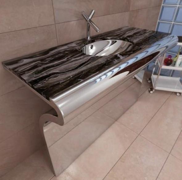 Pias de banheiro com estilo futurista 018