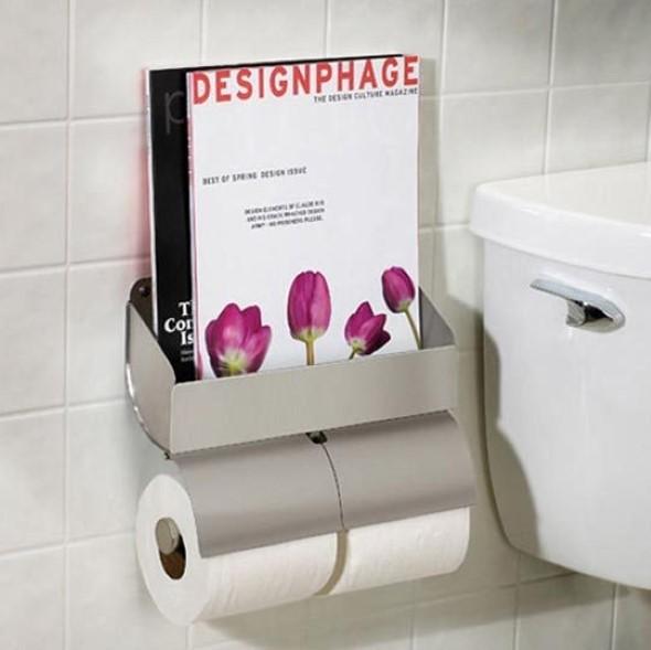 Suporte para jornais e revistas no banheiro 010