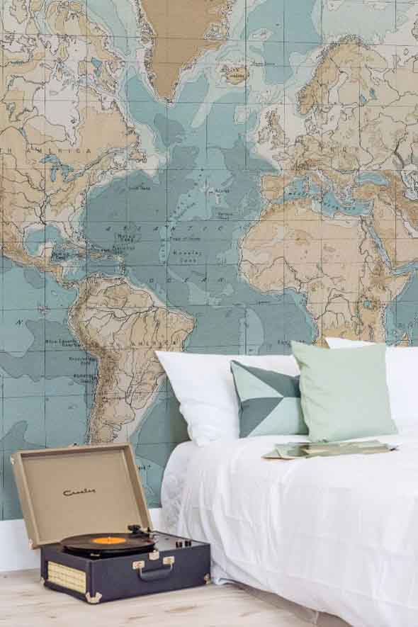 Decorar o quarto com mapa mundi 007
