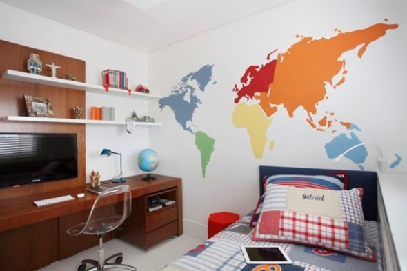 Decorar o quarto com mapa mundi 009