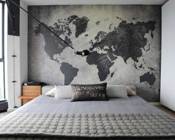 Decorar o quarto com mapa mundi 012