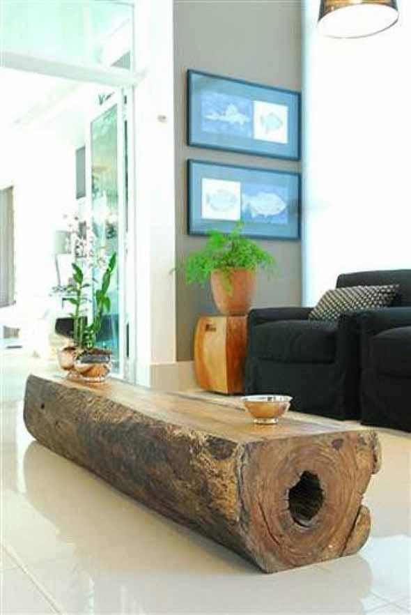 Madeira rústica para decorar a sala de estar 017