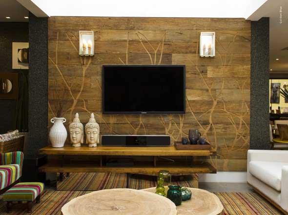 Madeira rústica para decorar a sala de estar 020
