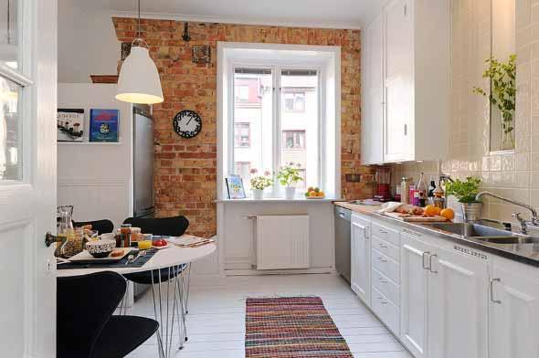 Tijolo aparente na decoração da cozinha 003
