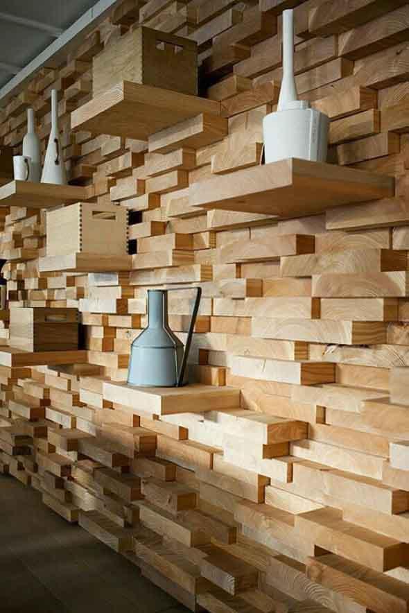Como revestir paredes com blocos de madeira 007