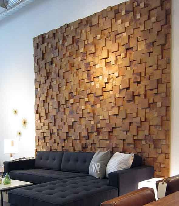 Como revestir paredes com blocos de madeira 008