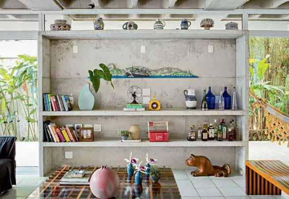 Móveis feitos de concreto em casa 001