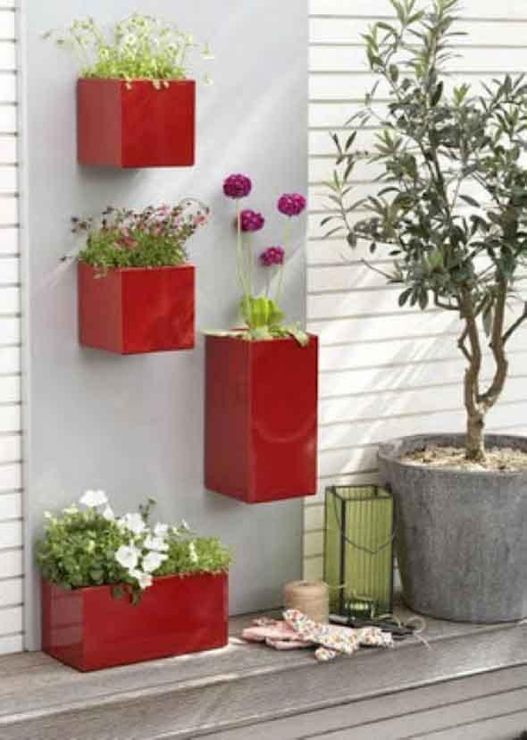 Vasos de plantas quadrados na decoração 016