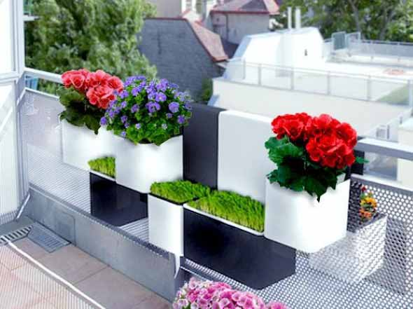 Vasos de plantas quadrados na decoração 018