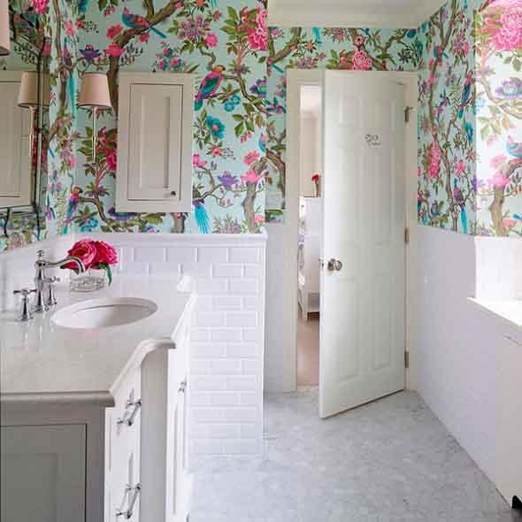 Papel de parede floral na decoração 009