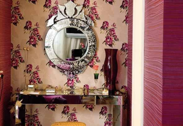 Papel de parede floral na decoração 010