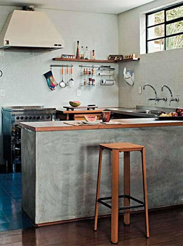 Balcão rústico na cozinha 006