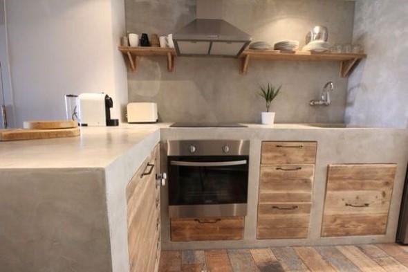 Balcão rústico na cozinha 007