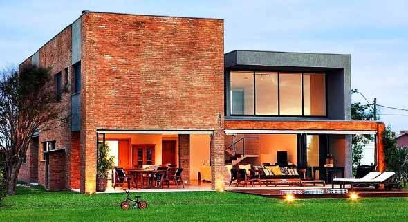 Casas modernas revestidas com tijolos 001