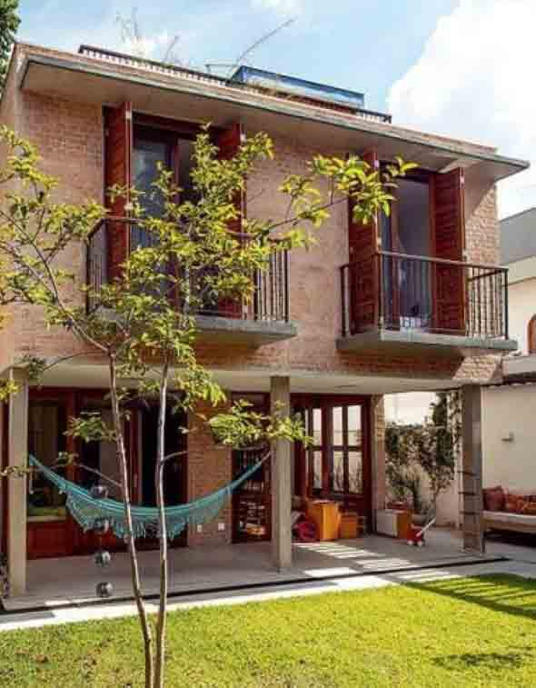 Casas modernas revestidas com tijolos 013