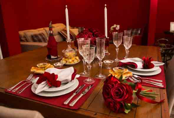 Mesa de jantar decorada Dia dos Namorados 006