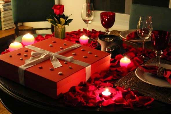 Mesa de jantar decorada Dia dos Namorados 011