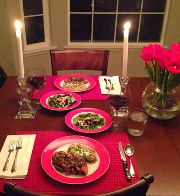 Mesa de jantar decorada Dia dos Namorados 014