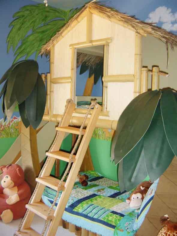Quarto infantil com tema casa na árvore 014